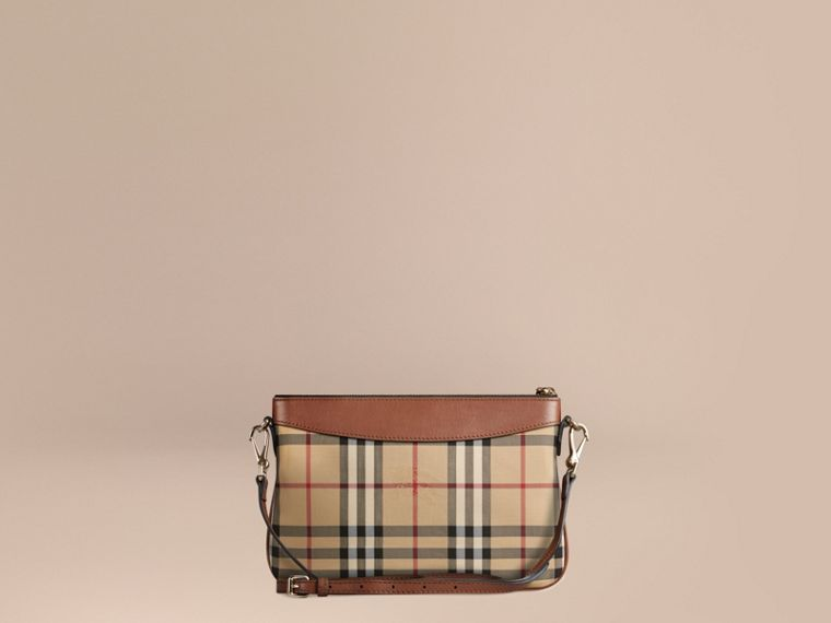 Tan Horseferry Check and Leather Clutch Bag Tan - cell image 4
