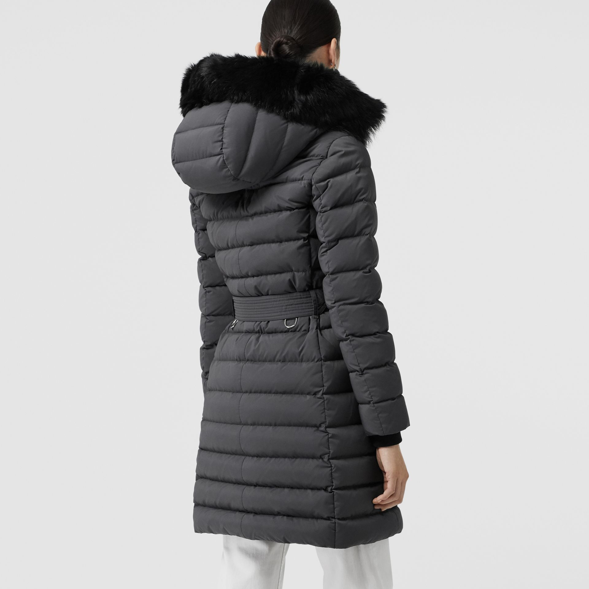 Detachable Shearling Trim Down-filled Puffer Coat in Mid Grey - Women | Burberry Australia - gallery image 2
