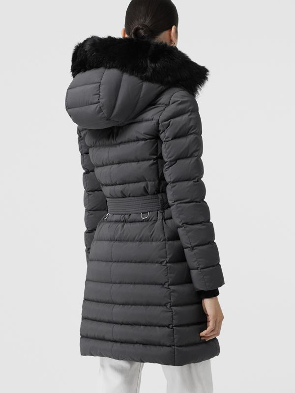 Detachable Shearling Trim Down-filled Puffer Coat in Mid Grey - Women | Burberry - cell image 2