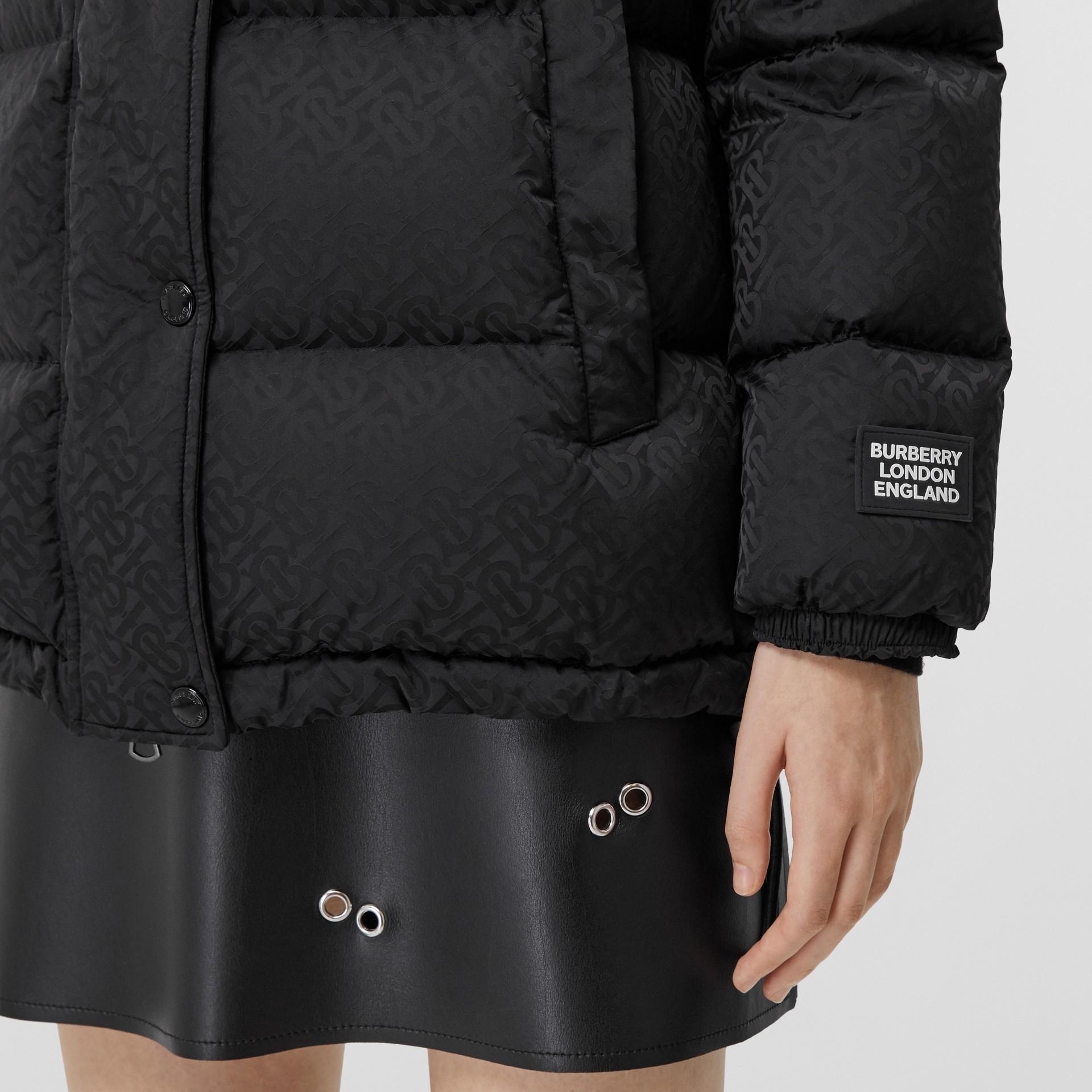 Detachable Hood Monogram ECONYL® Puffer Jacket in Black - Women | Burberry - gallery image 4