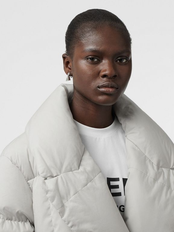 Detachable Shearling Collar Down-filled Puffer Coat in Pale Grey - Women | Burberry - cell image 1