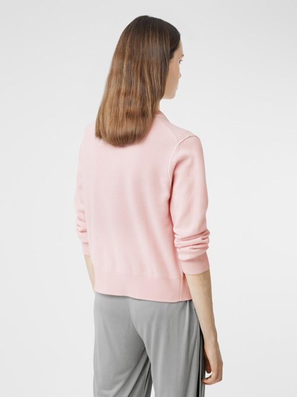Silk Trim Monogram Motif Cashmere Cardigan in Copper Pink - Women | Burberry United Kingdom - cell image 2
