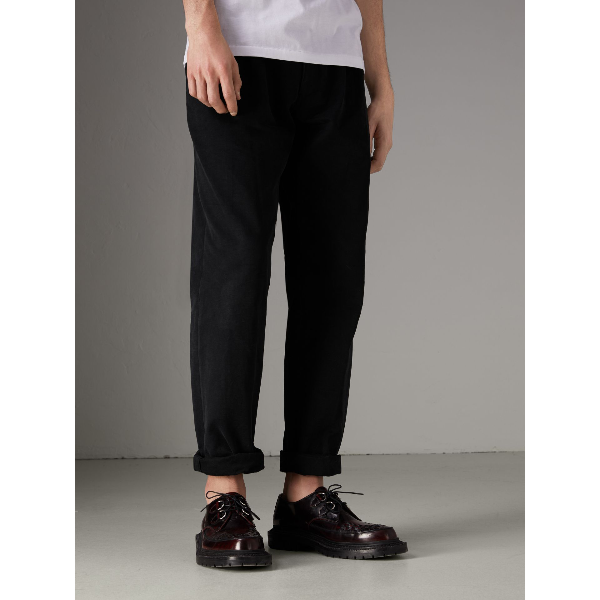 Cotton Canvas Wide Leg Trousers in Black - Men | Burberry - gallery image 4