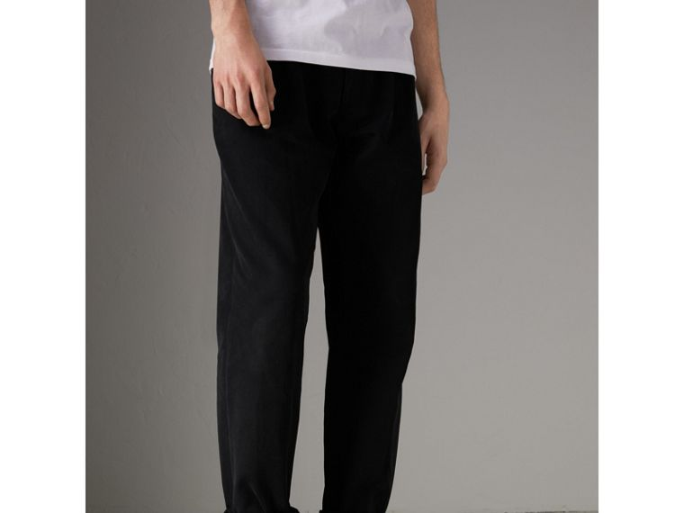 Cotton Canvas Wide Leg Trousers in Black - Men | Burberry United Kingdom - cell image 4