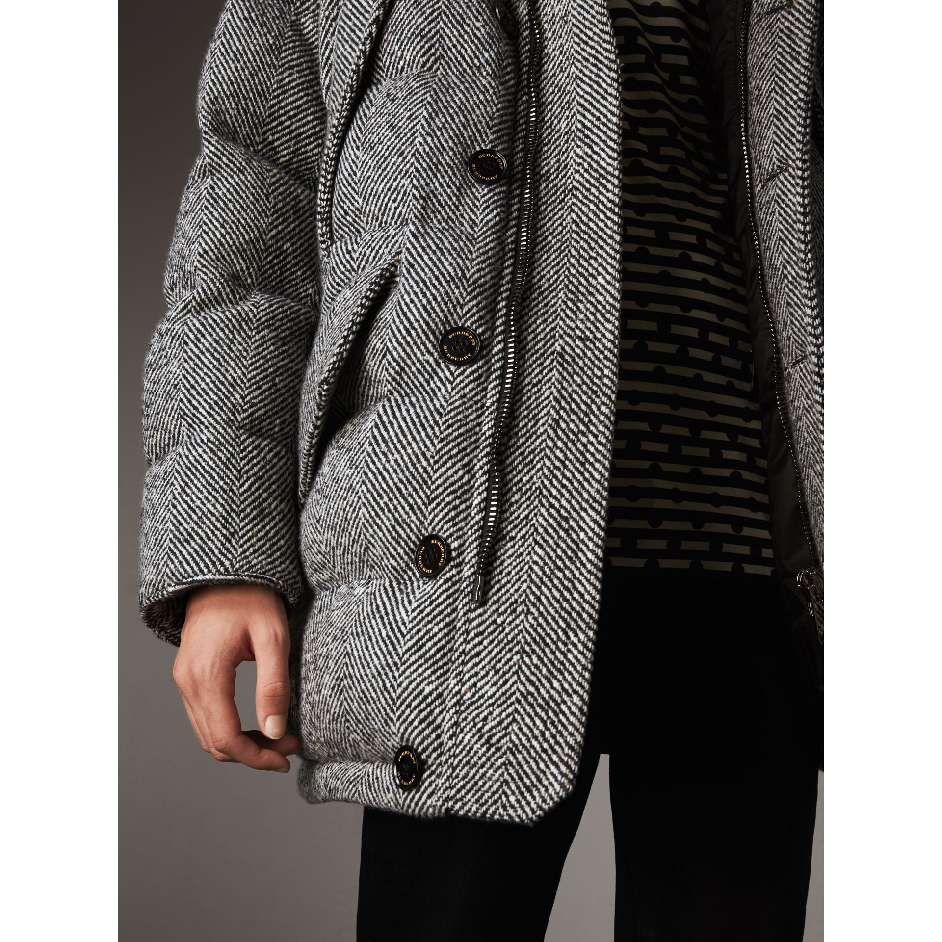 Detachable Fur Trim Hooded Down-filled Cashmere Parka in Natural White/black - Men | Burberry - gallery image 2
