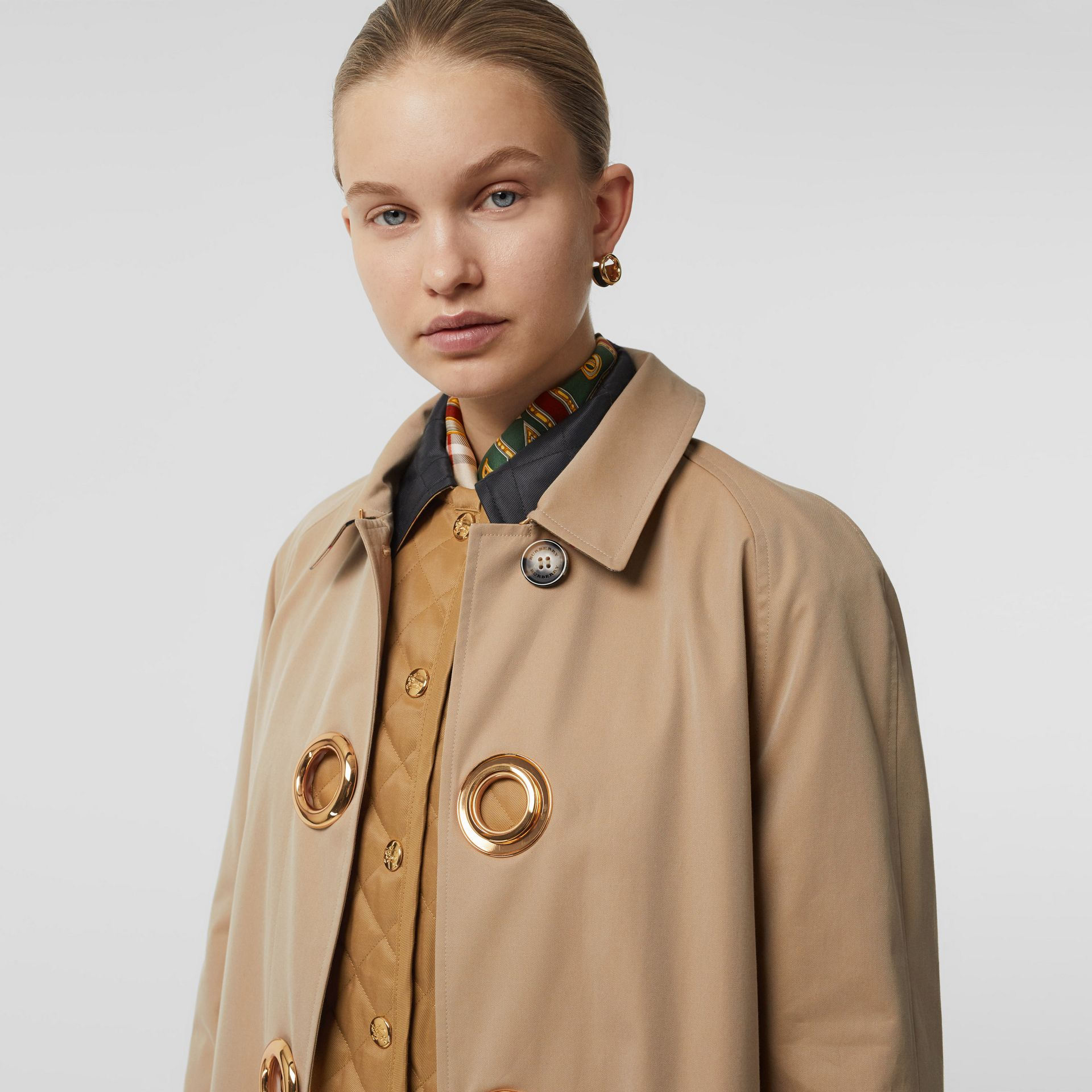 Grommet Detail Cotton Gabardine Car Coat in Honey - Women | Burberry - gallery image 1