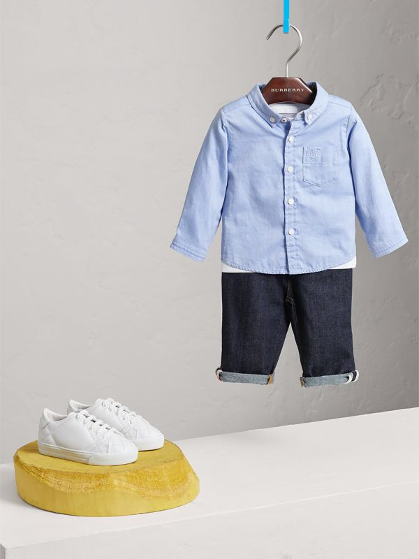 Cotton Oxford Shirt in Cornflower Blue - Children | Burberry - cell image 2