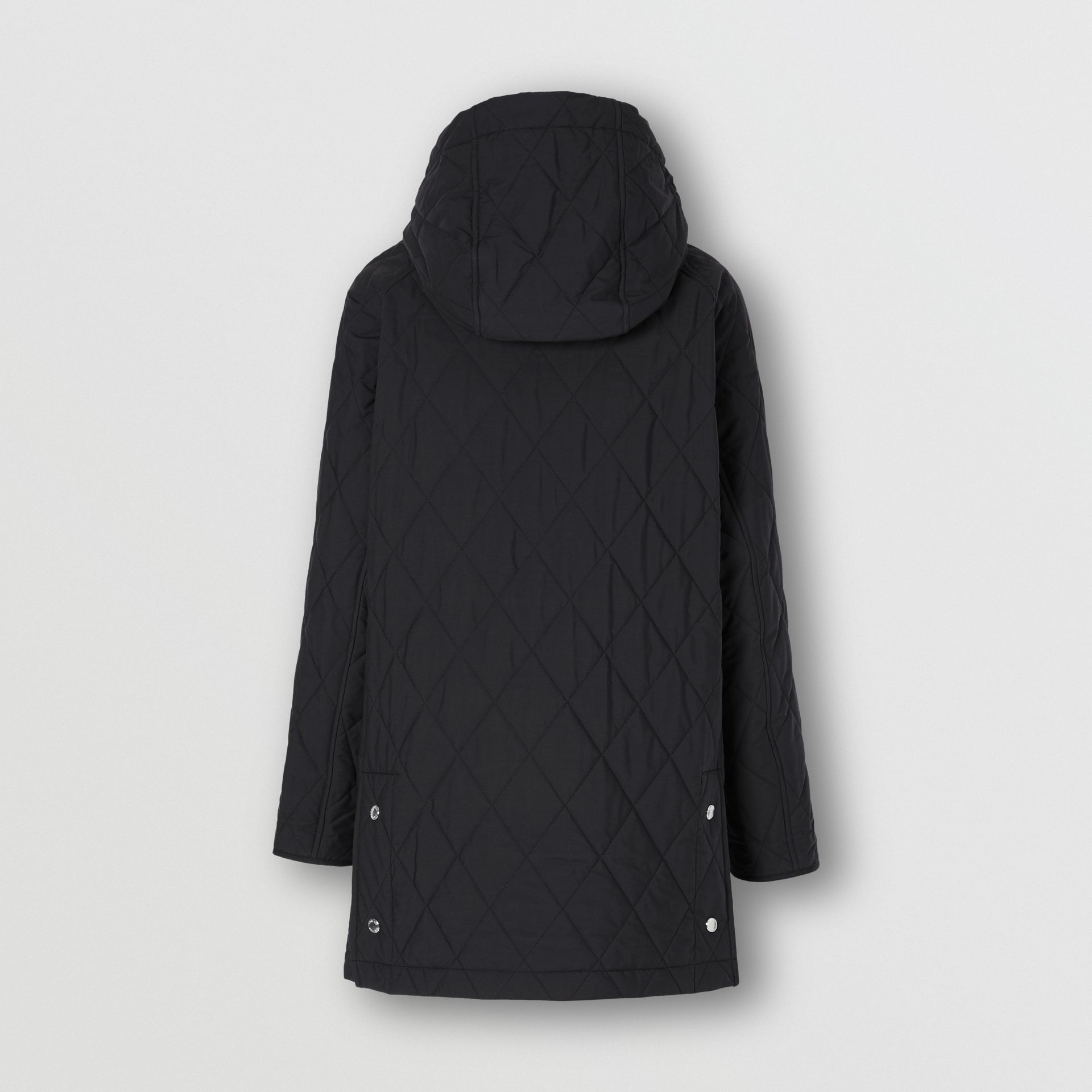 Diamond Quilted Cotton Hooded Coat in Black - Women | Burberry - gallery image 6