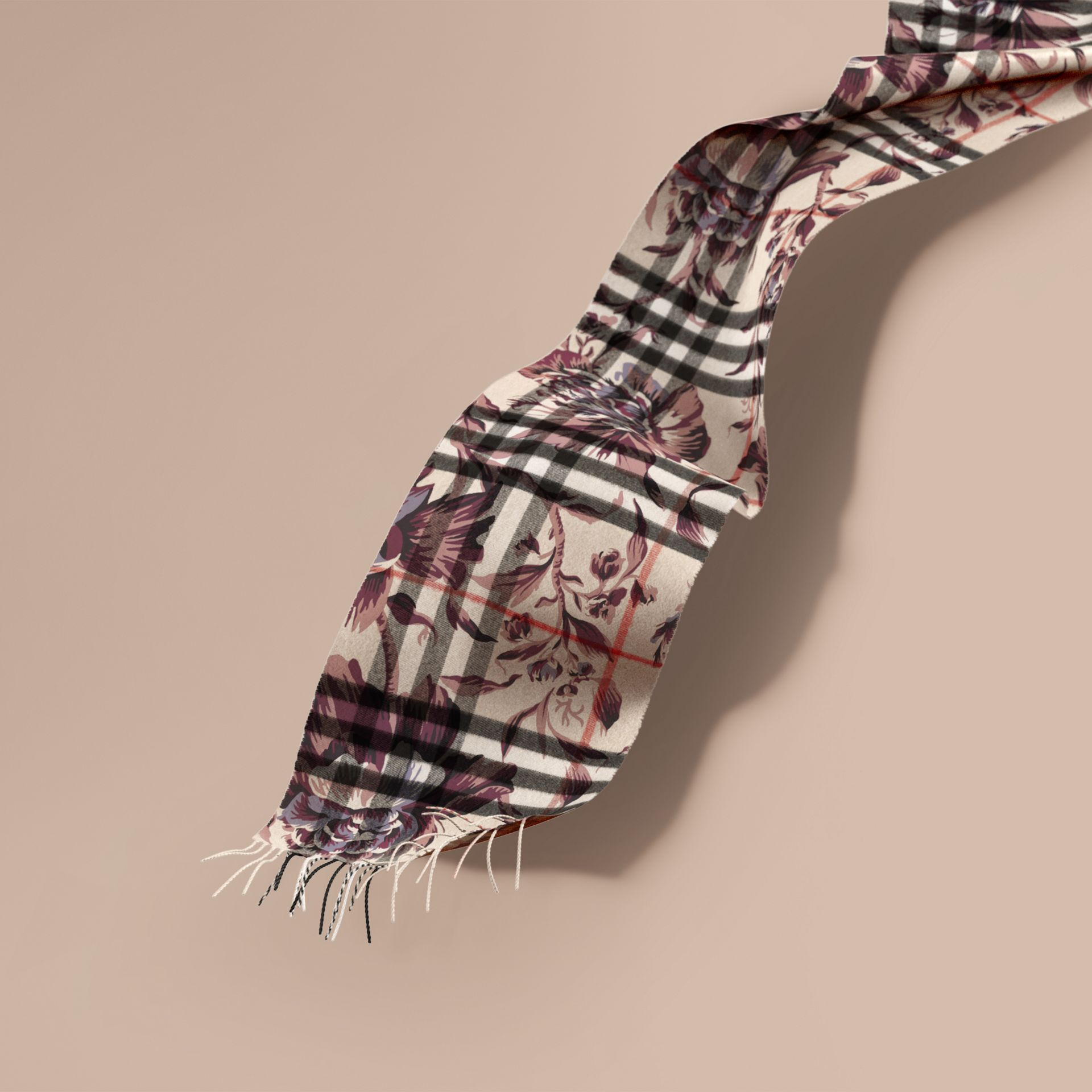 The Classic Cashmere Scarf in Check with Peony Rose Print - gallery image 1