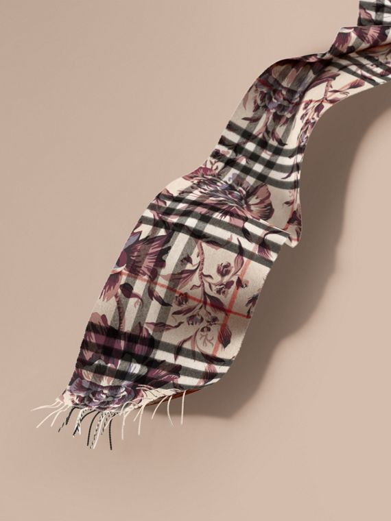 The Classic Cashmere Scarf in Check with Peony Rose Print
