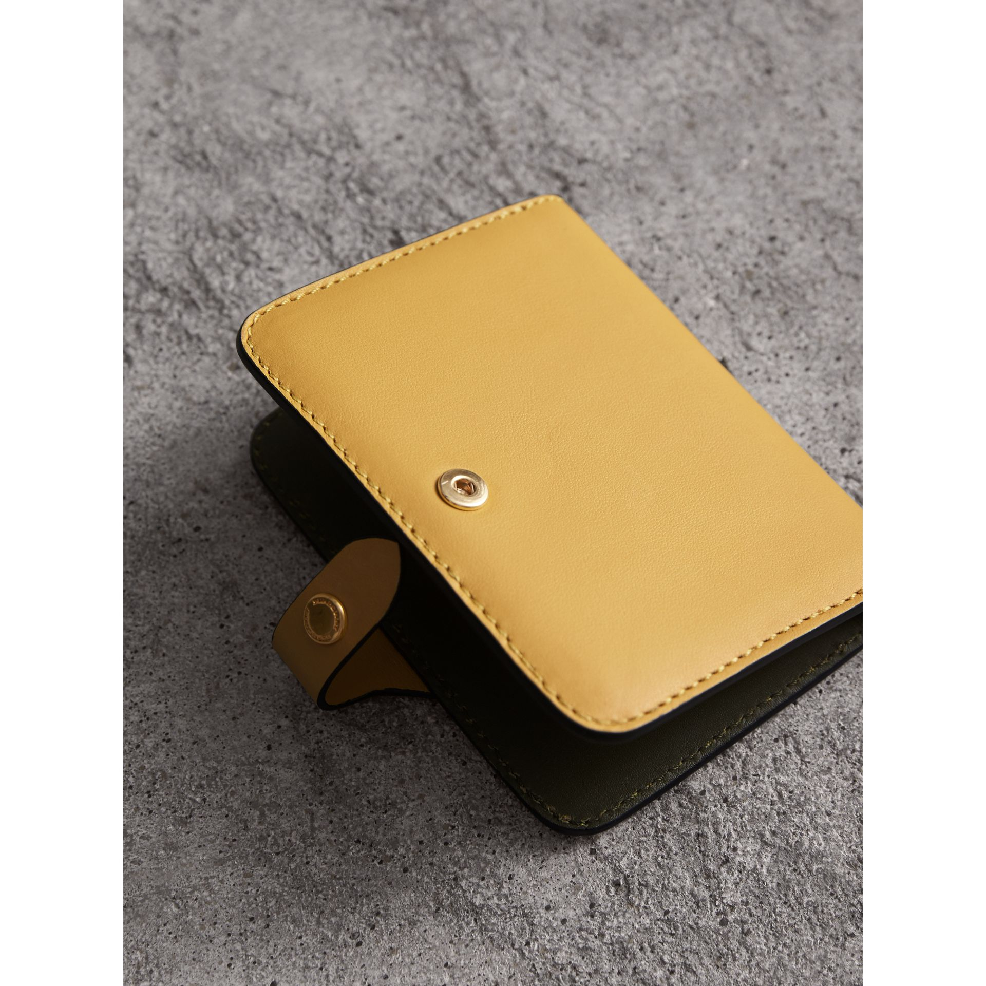 Equestrian Shield Leather Card Case in Larch Yellow | Burberry - gallery image 3