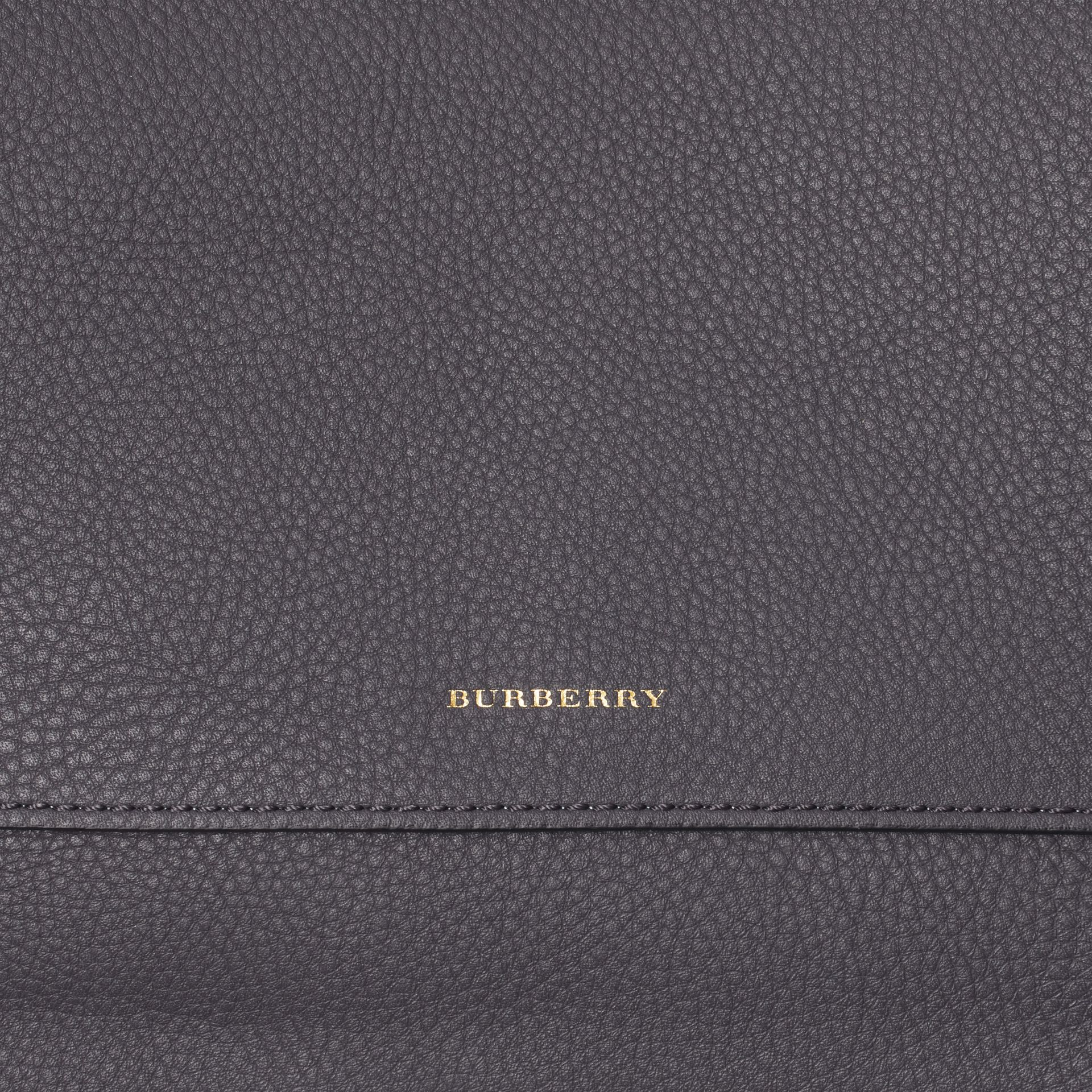Leather Pouch with Detachable Strap in Charcoal Grey - Women | Burberry Canada - gallery image 1