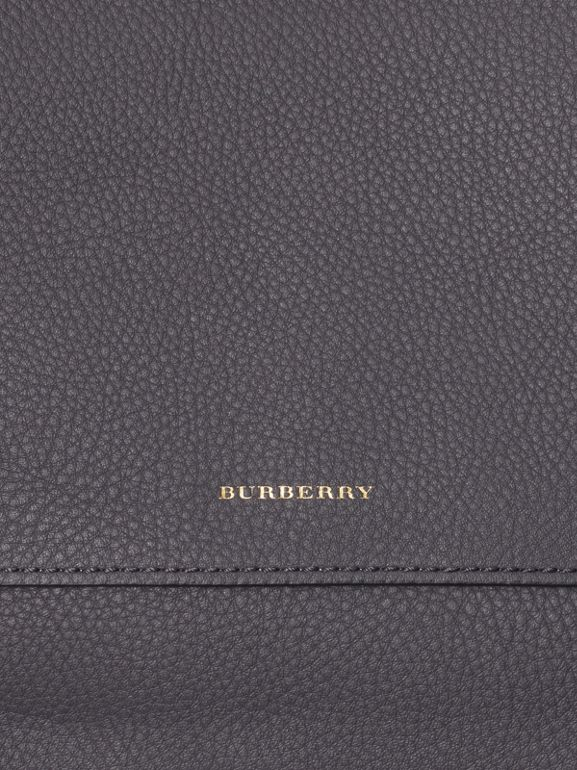 Leather Pouch with Detachable Strap in Charcoal Grey - Women | Burberry Canada - cell image 1