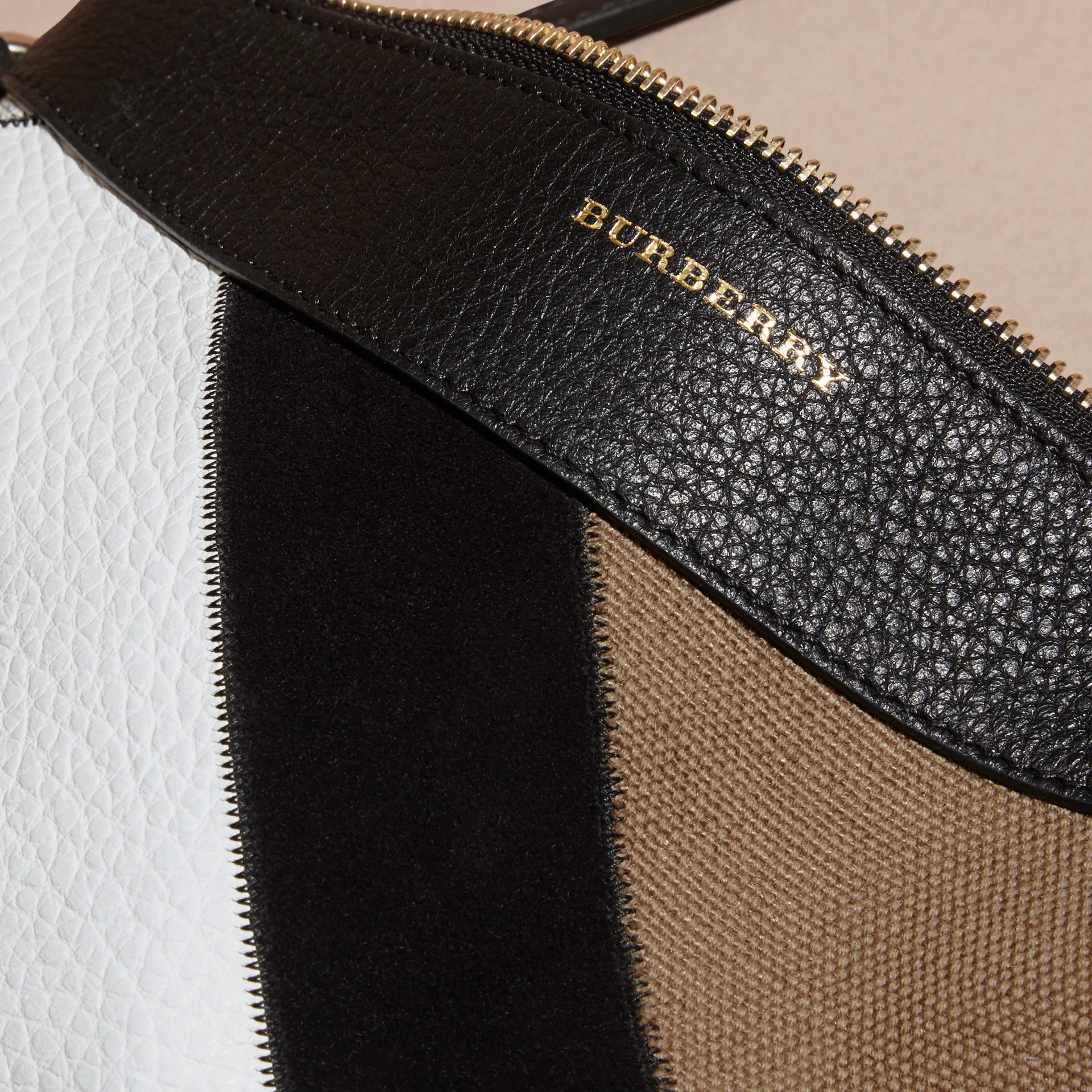 Nero Pochette in patchwork di pelle, pelle scamosciata, iuta e cotone con motivo tartan - immagine della galleria 2