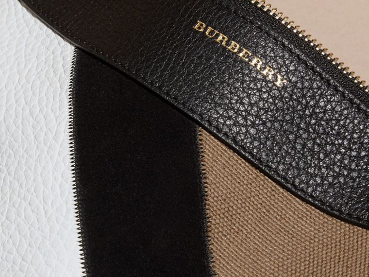 Noir Clutch façon patchwork en cuir, cuir velours et jute de coton à motif check - cell image 1