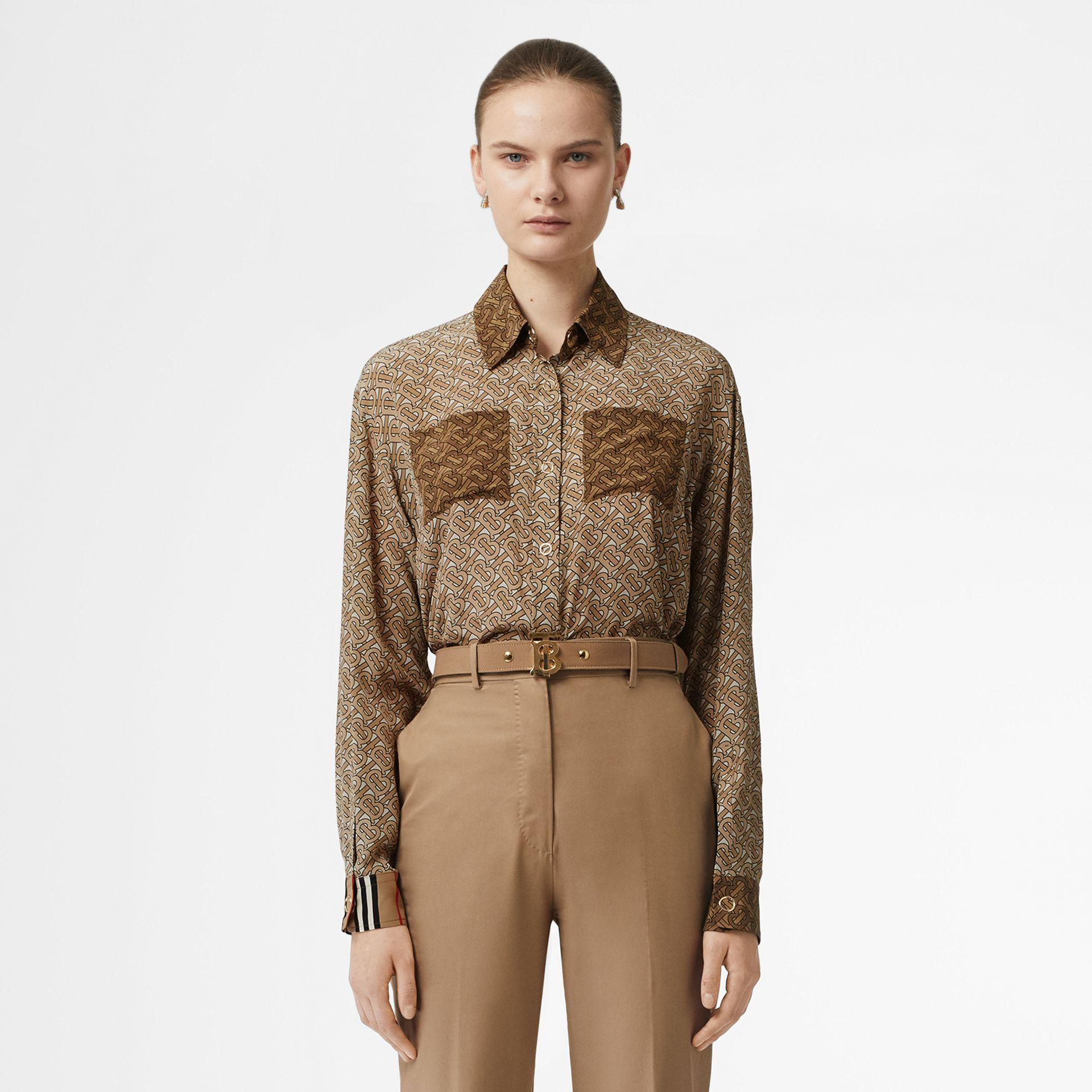 Two-tone Monogram Print Silk Oversized Shirt in Light Camel - Women | Burberry Australia - gallery image 0