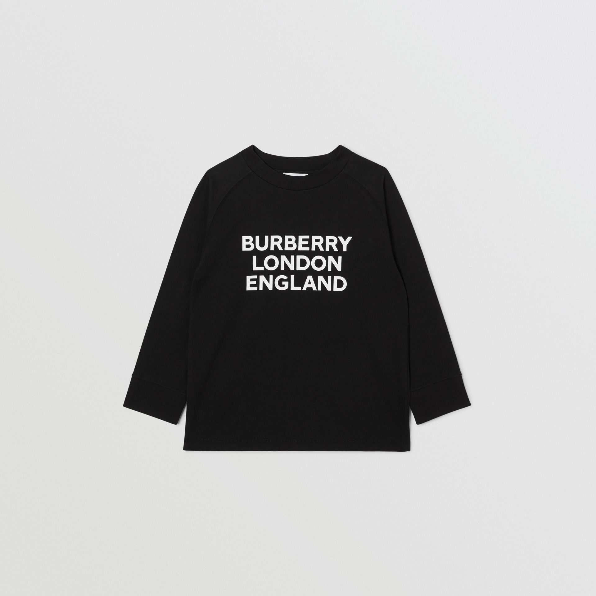 Long-sleeve Logo Print Cotton Top in Black | Burberry United Kingdom - gallery image 0