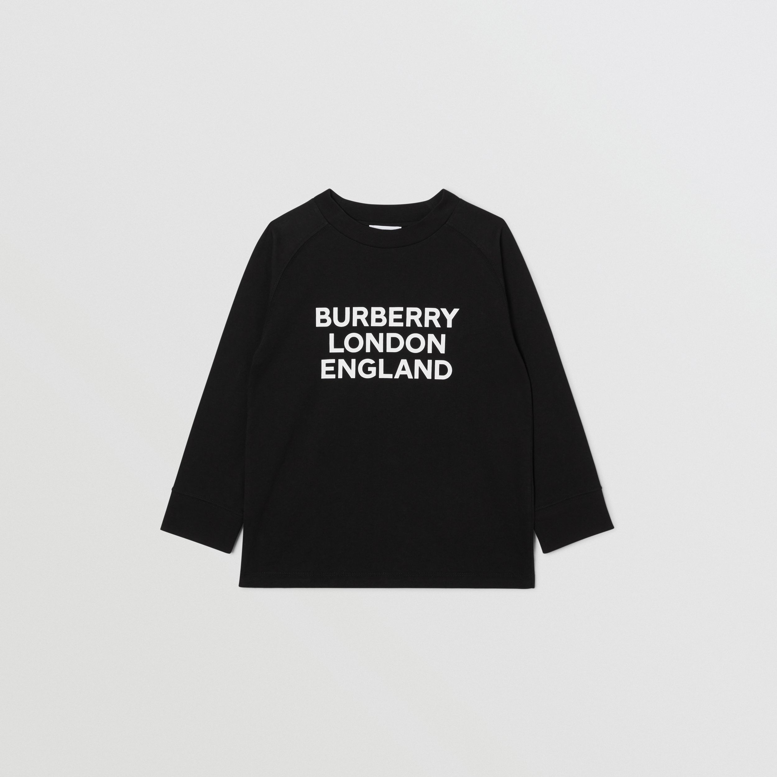 Long-sleeve Logo Print Cotton Top in Black | Burberry Australia - 1