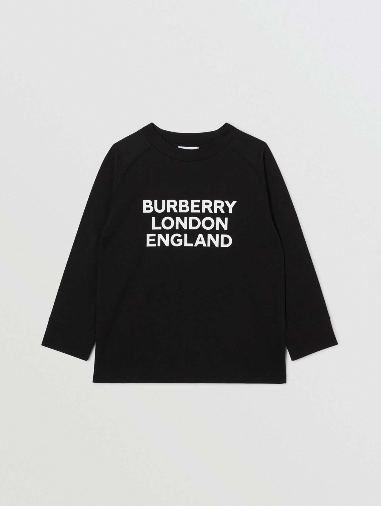 Long-sleeve Logo Print Cotton Top in Black