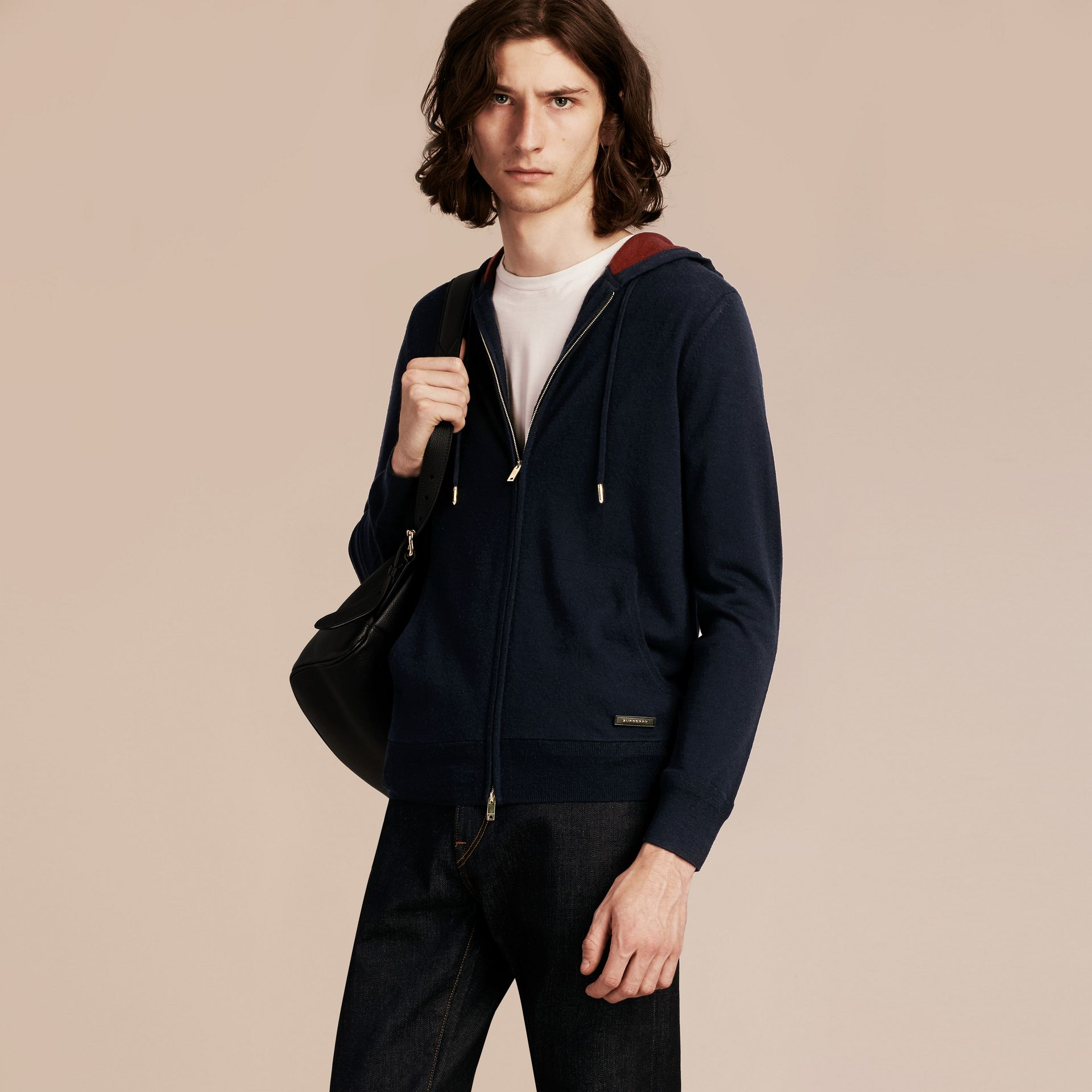 Navy Two-tone Cashmere Hooded Top - gallery image 1