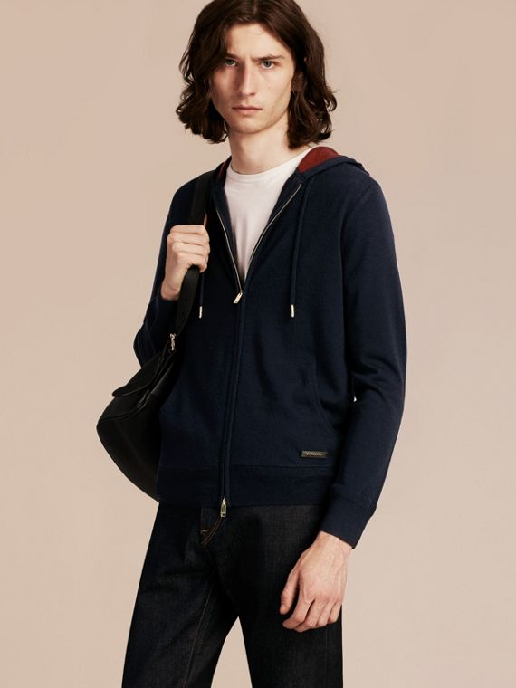 Two-tone Cashmere Hooded Top