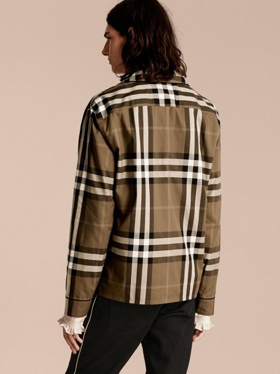Olive sombre Chemise de style pyjama en coton à motif check Olive Sombre - cell image 2
