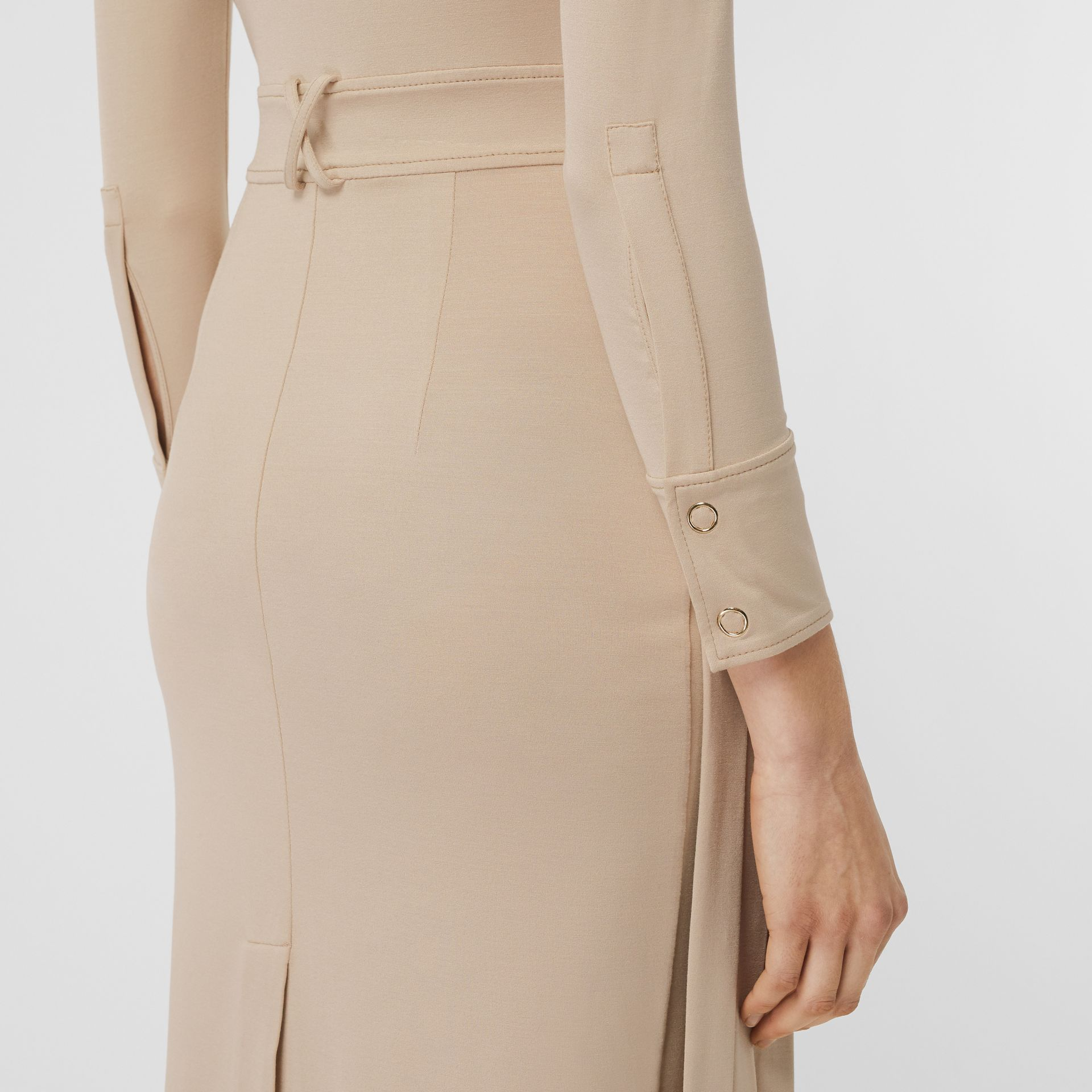 Long-sleeve Pleated Dress in Teddy Beige - Women | Burberry United Kingdom - gallery image 1