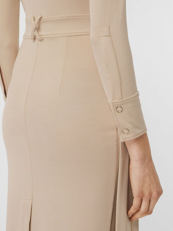 Long-sleeve Pleated Dress in Teddy Beige - Women | Burberry - cell image 1