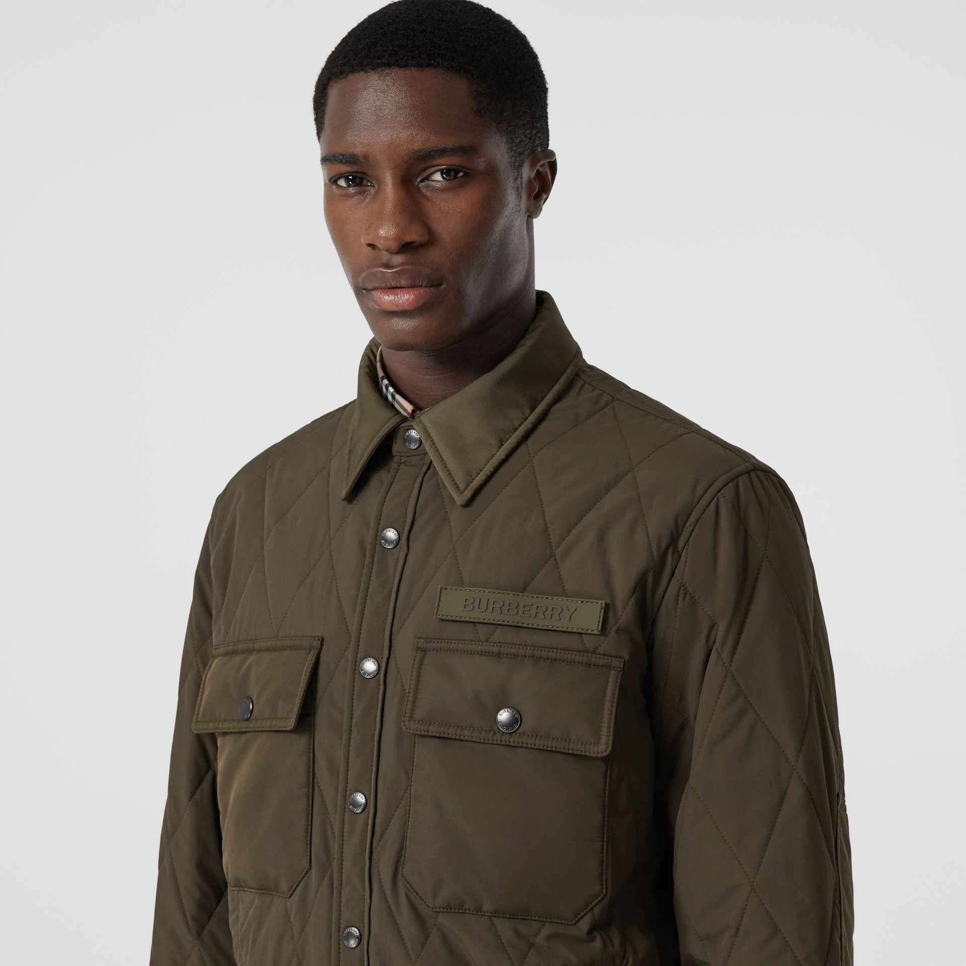 Quilted Nylon Thermoregulated Overshirt in Dark Olive Green - Men | Burberry - gallery image 1
