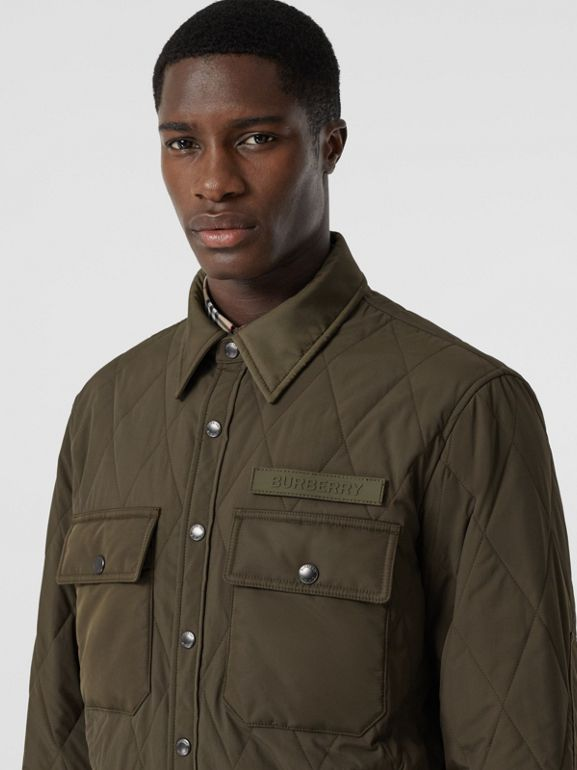Quilted Nylon Thermoregulated Overshirt in Dark Olive Green - Men | Burberry - cell image 1