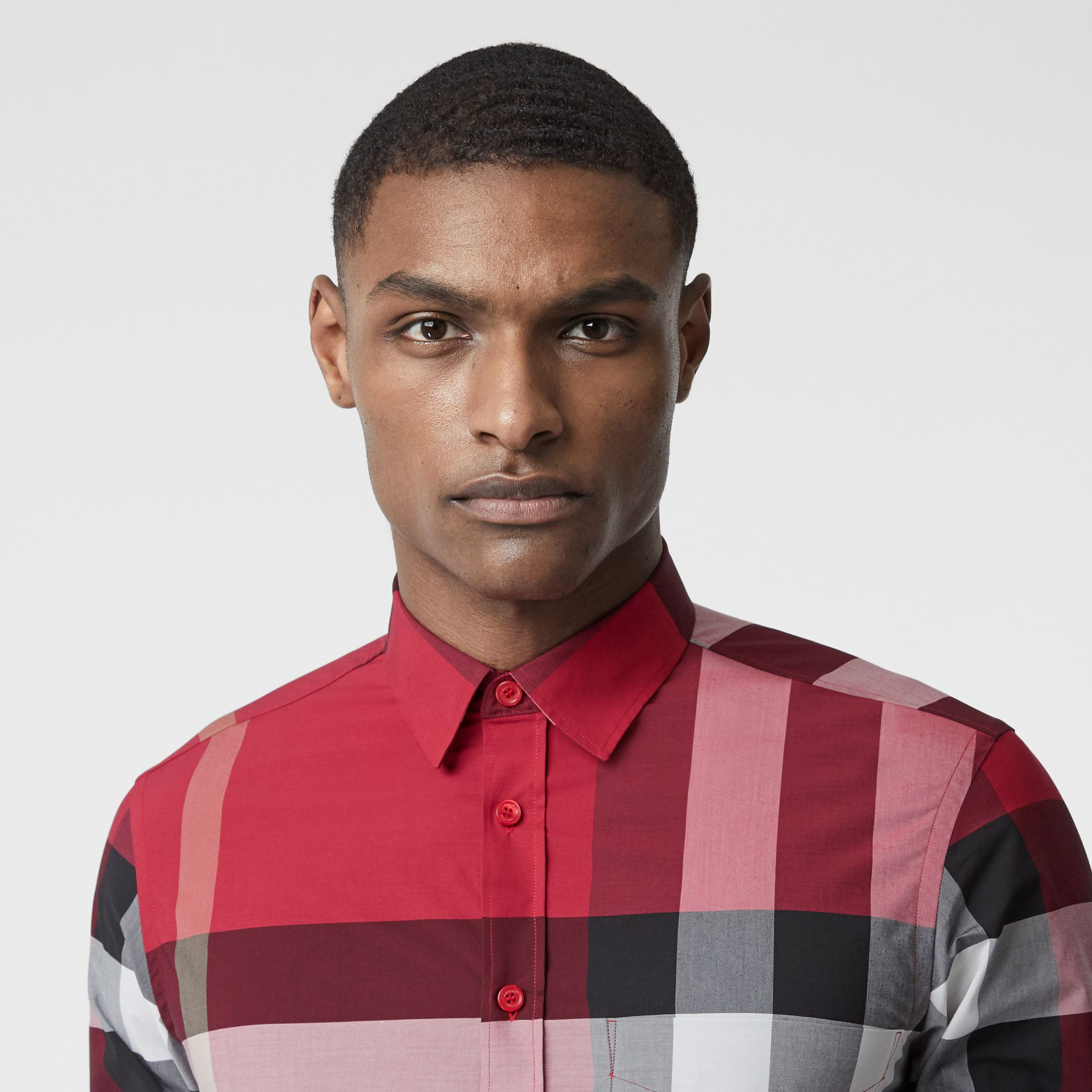 Check Stretch Cotton Poplin Shirt in Parade Red - Men | Burberry Australia - gallery image 1