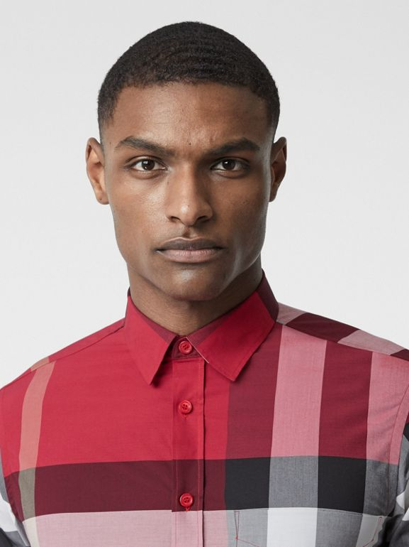 Check Stretch Cotton Poplin Shirt in Parade Red - Men | Burberry United States - cell image 1