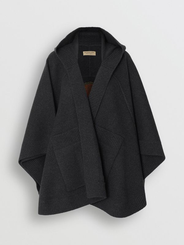 Crest Wool Blend Jacquard Hooded Cape in Charcoal - Women | Burberry Australia - cell image 3