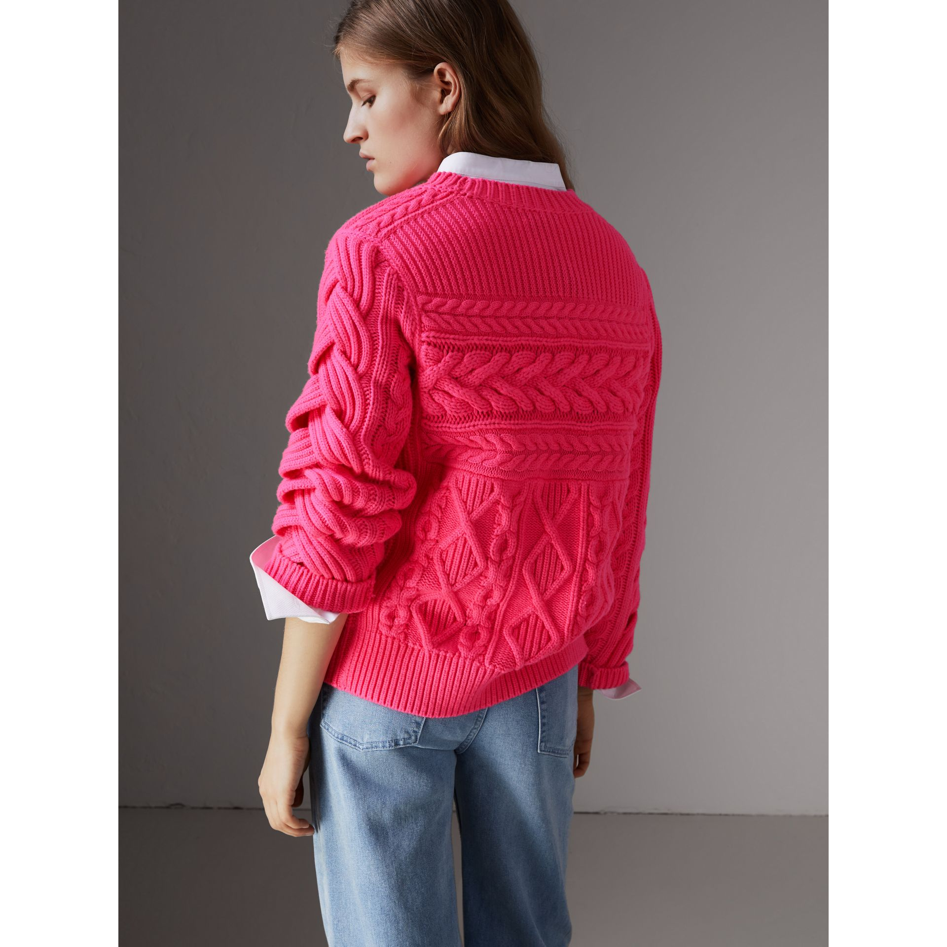 Aran Knit Wool Cashmere Sweater in Bright Rose Pink - Women | Burberry - gallery image 3