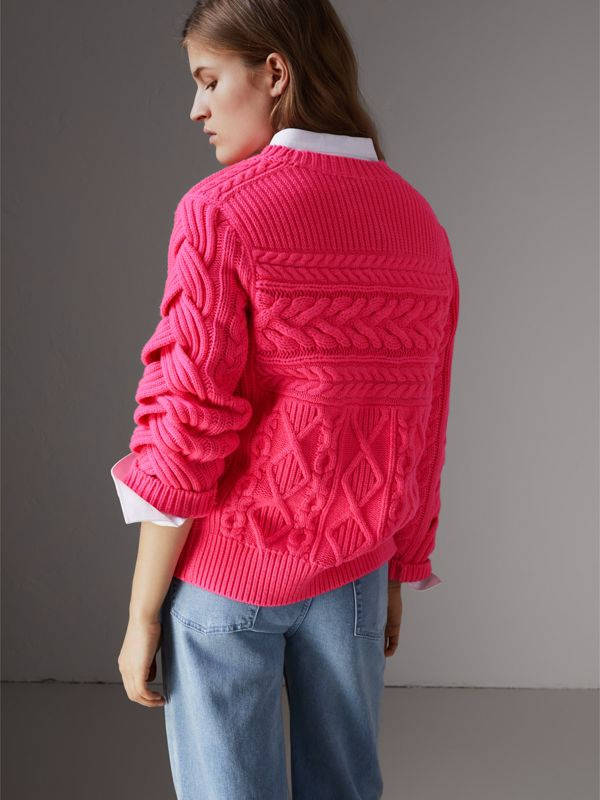 Aran Knit Wool Cashmere Sweater in Bright Rose Pink - Women | Burberry - cell image 2