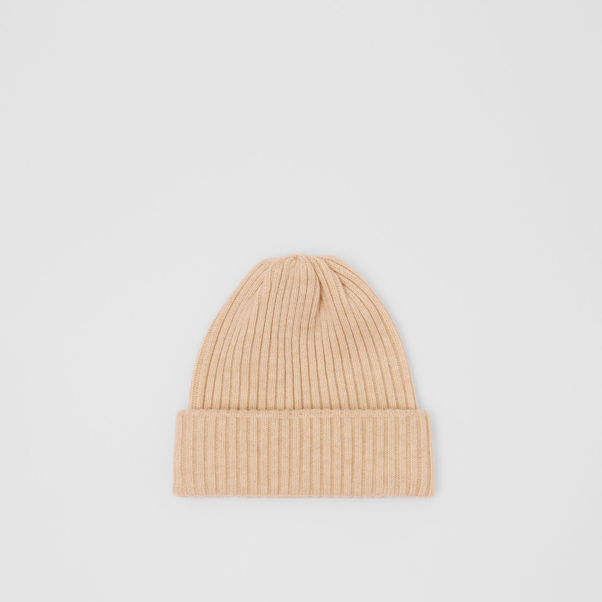 Rib Knit Wool Beanie in Beige | Burberry United States - gallery image 0