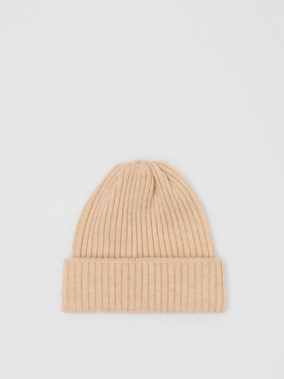 Rib Knit Wool Beanie in Beige