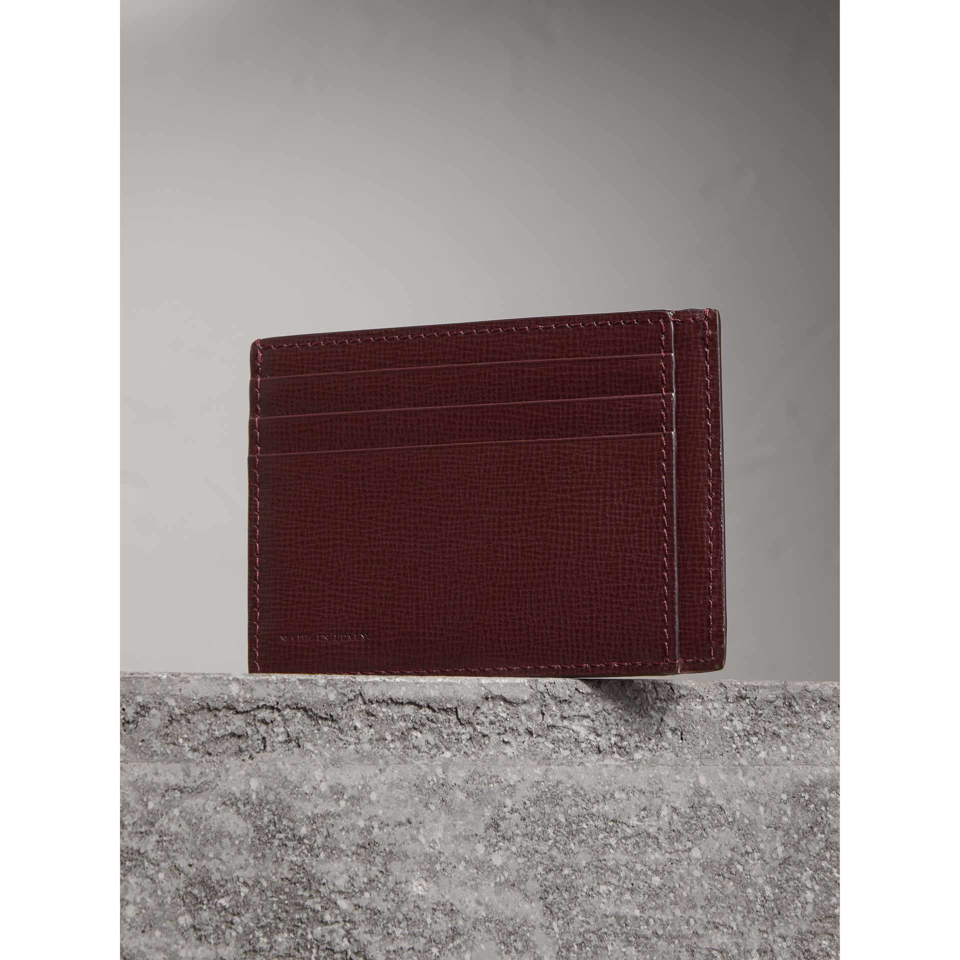 London Leather Card Case in Burgundy Red | Burberry - gallery image 2