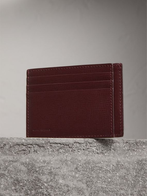 London Leather Card Case in Burgundy Red - Men | Burberry - cell image 2
