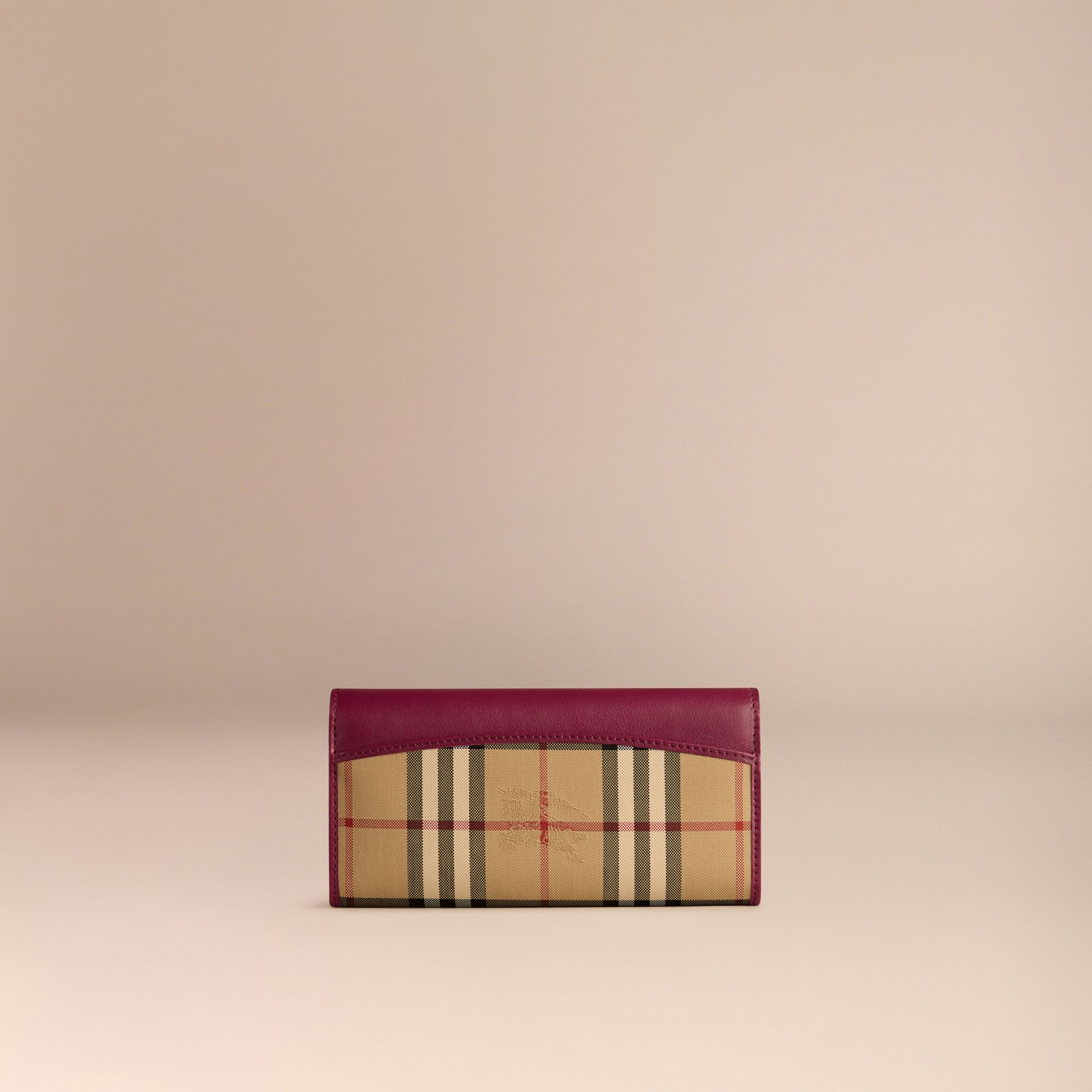 Dark plum Horseferry Check and Leather Continental Wallet Dark Plum - gallery image 3