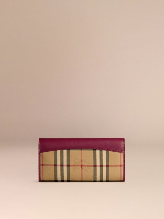 Dark plum Horseferry Check and Leather Continental Wallet Dark Plum - cell image 2