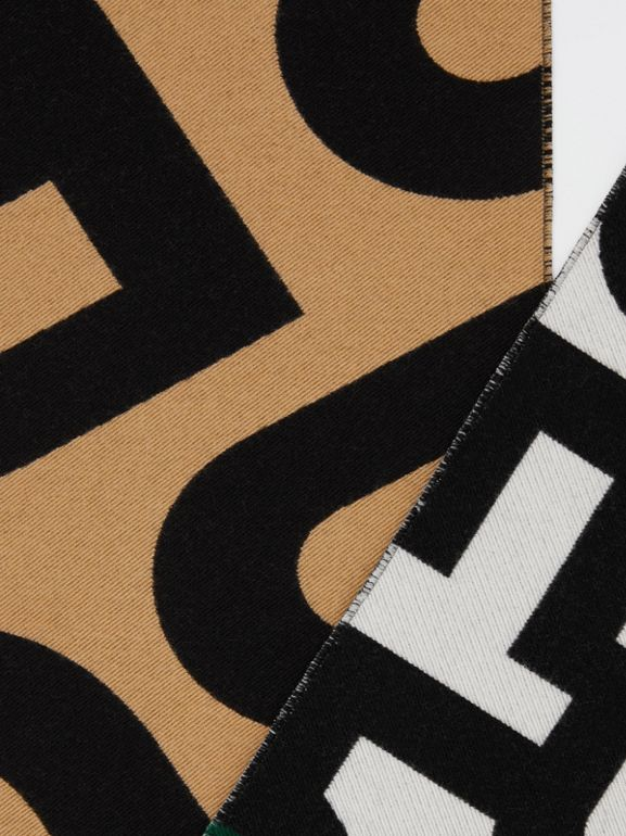 Contrast Logo Graphic Wool Silk Jacquard Scarf in Dark Pine Green | Burberry United Kingdom - cell image 1