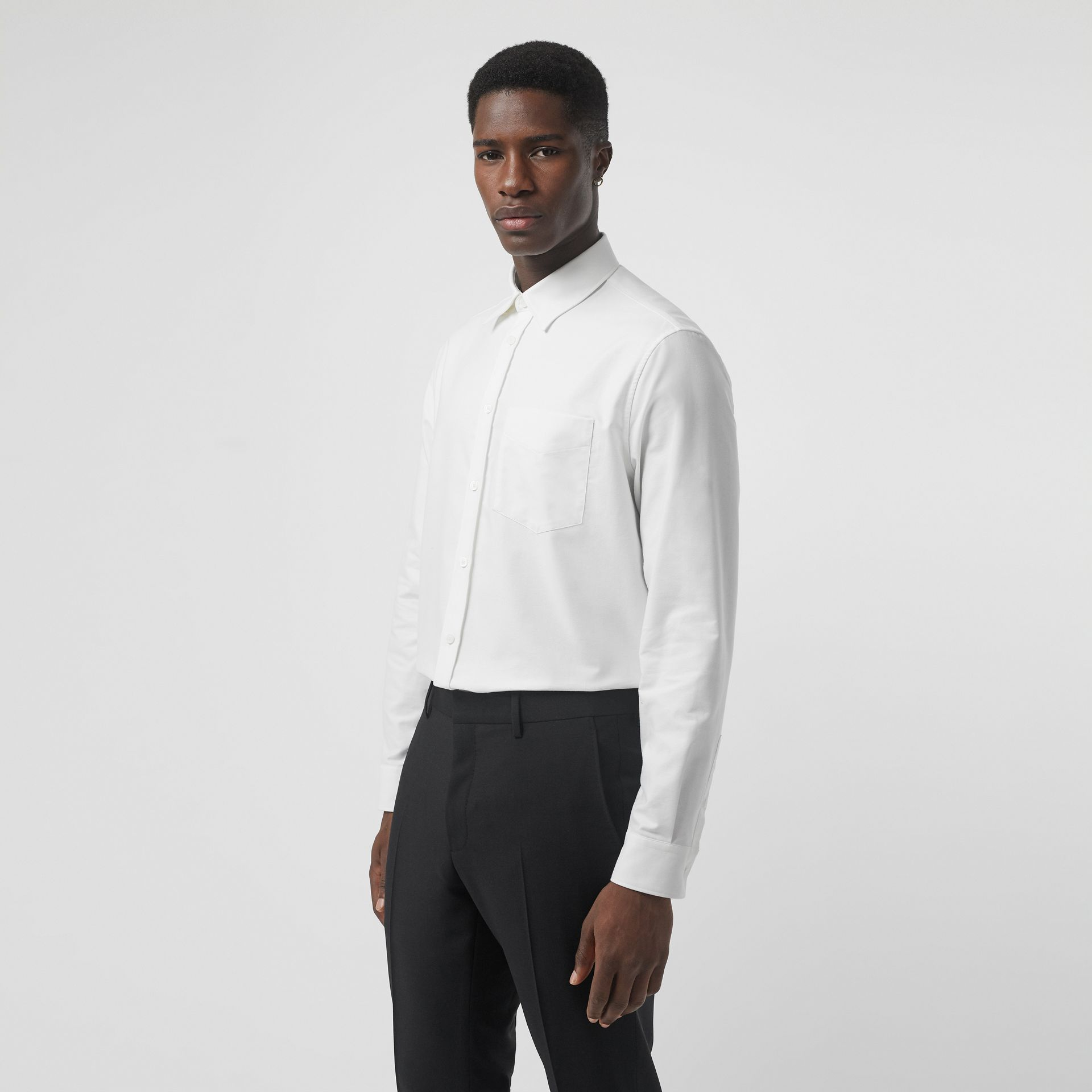 EKD Appliqué Cotton Oxford Shirt in White - Men | Burberry - gallery image 0