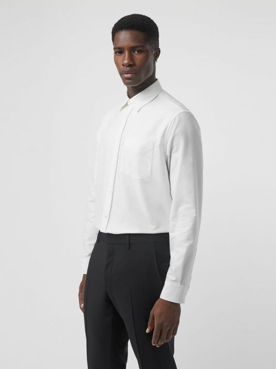 EKD Appliqué Cotton Oxford Shirt in White