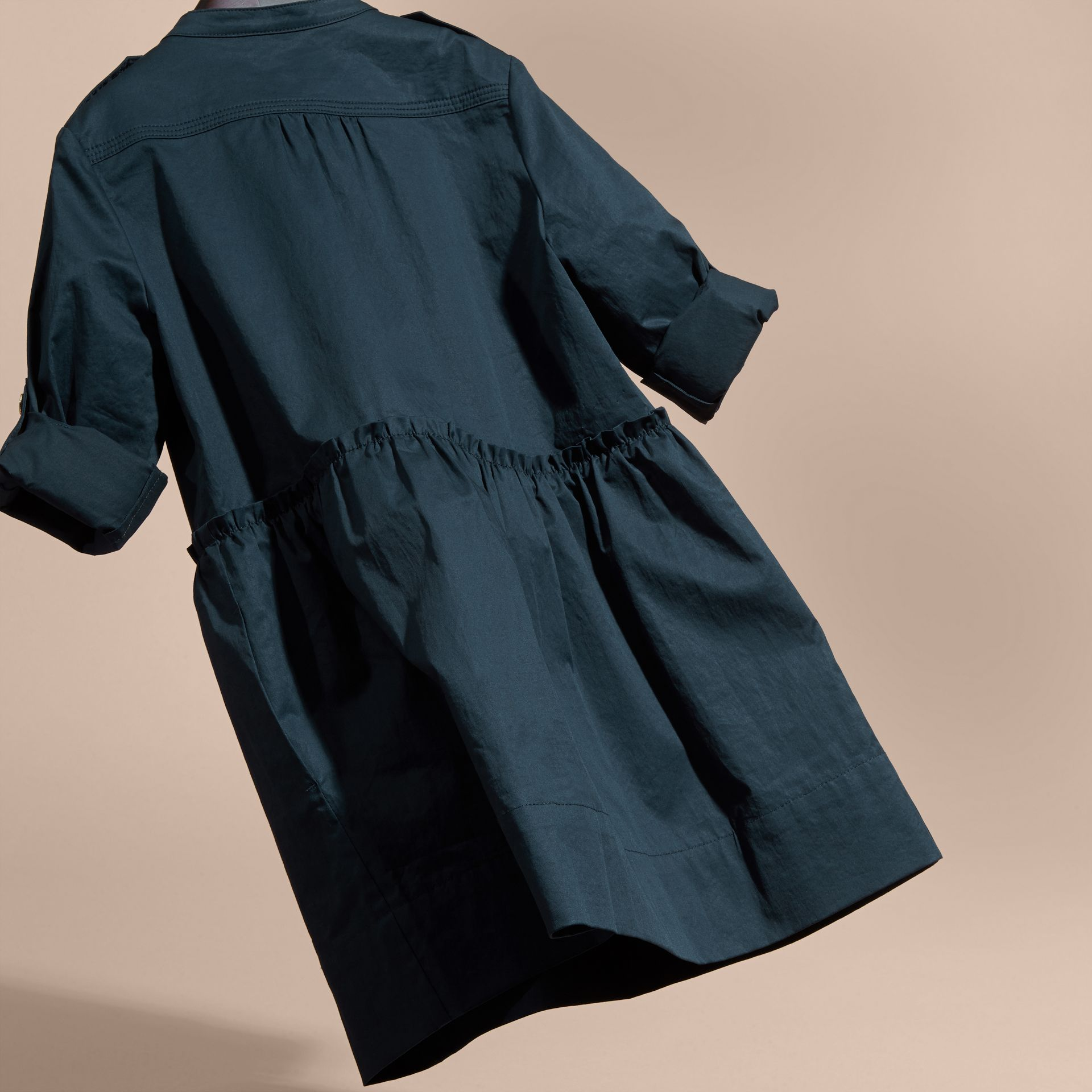 Dark pewter blue Stretch Cotton Military Shirt Dress - gallery image 4