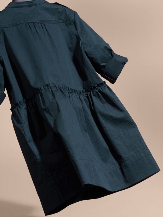 Dark pewter blue Stretch Cotton Military Shirt Dress - cell image 3