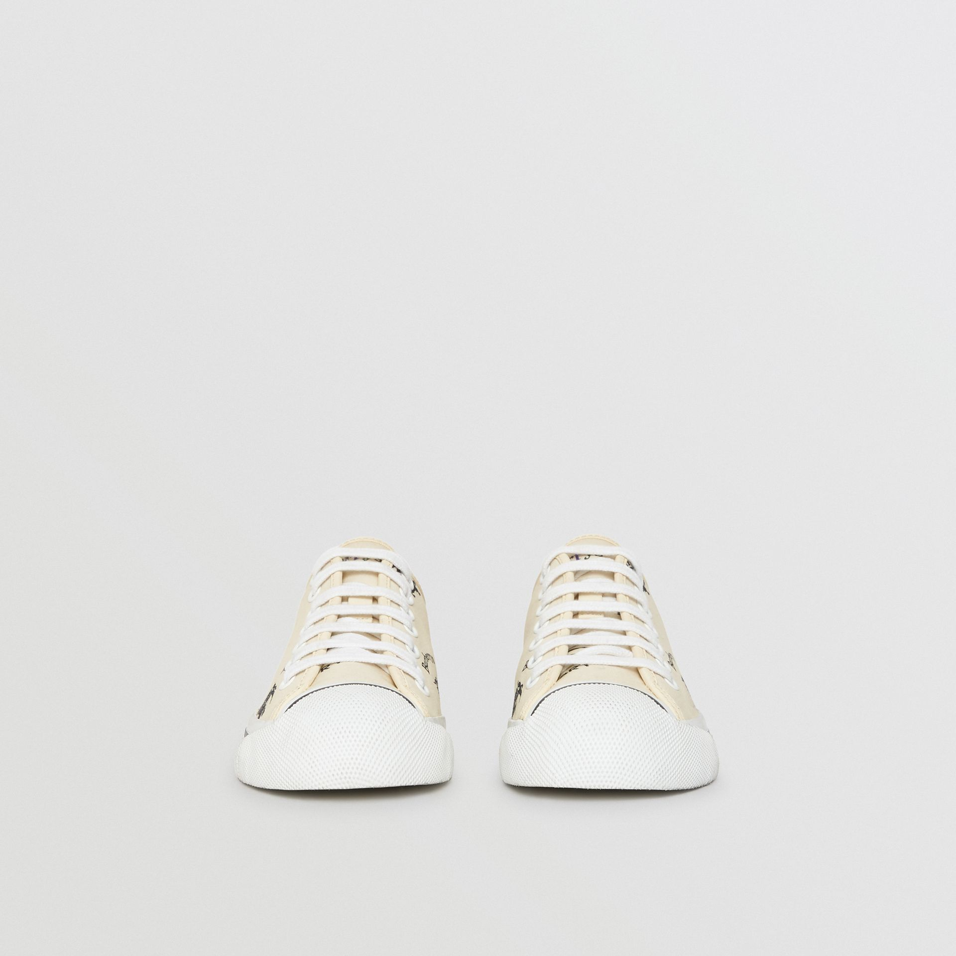 Archive Logo Cotton Sneakers in Off White - Women | Burberry - gallery image 3