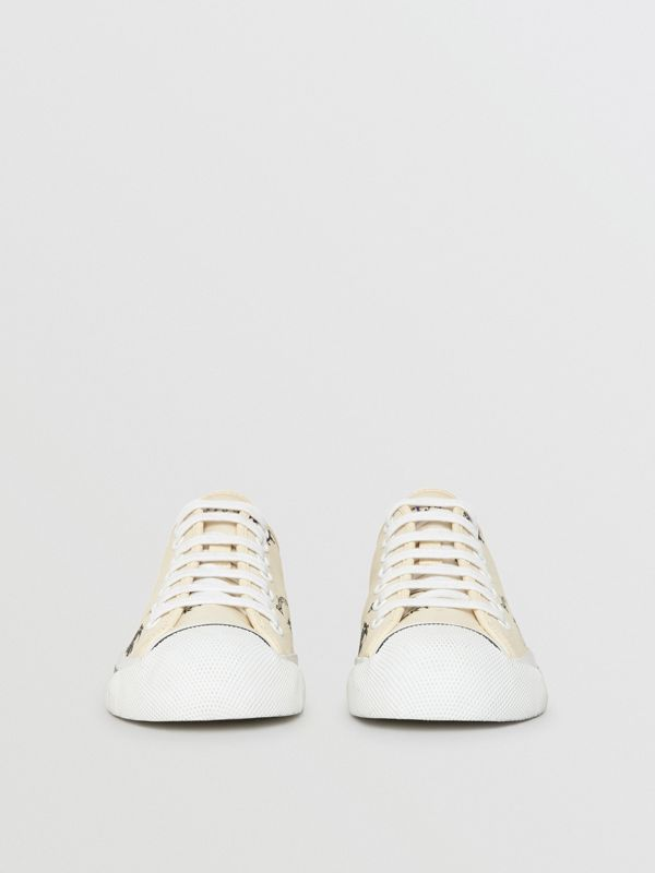 Archive Logo Cotton Sneakers in Off White - Women | Burberry - cell image 3