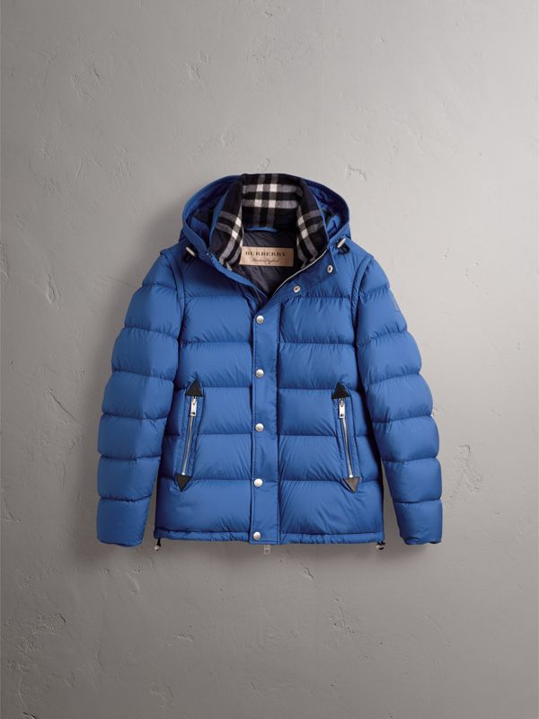 Detachable-sleeve Down-filled Puffer Jacket in Cerulean Blue - Men | Burberry - cell image 3
