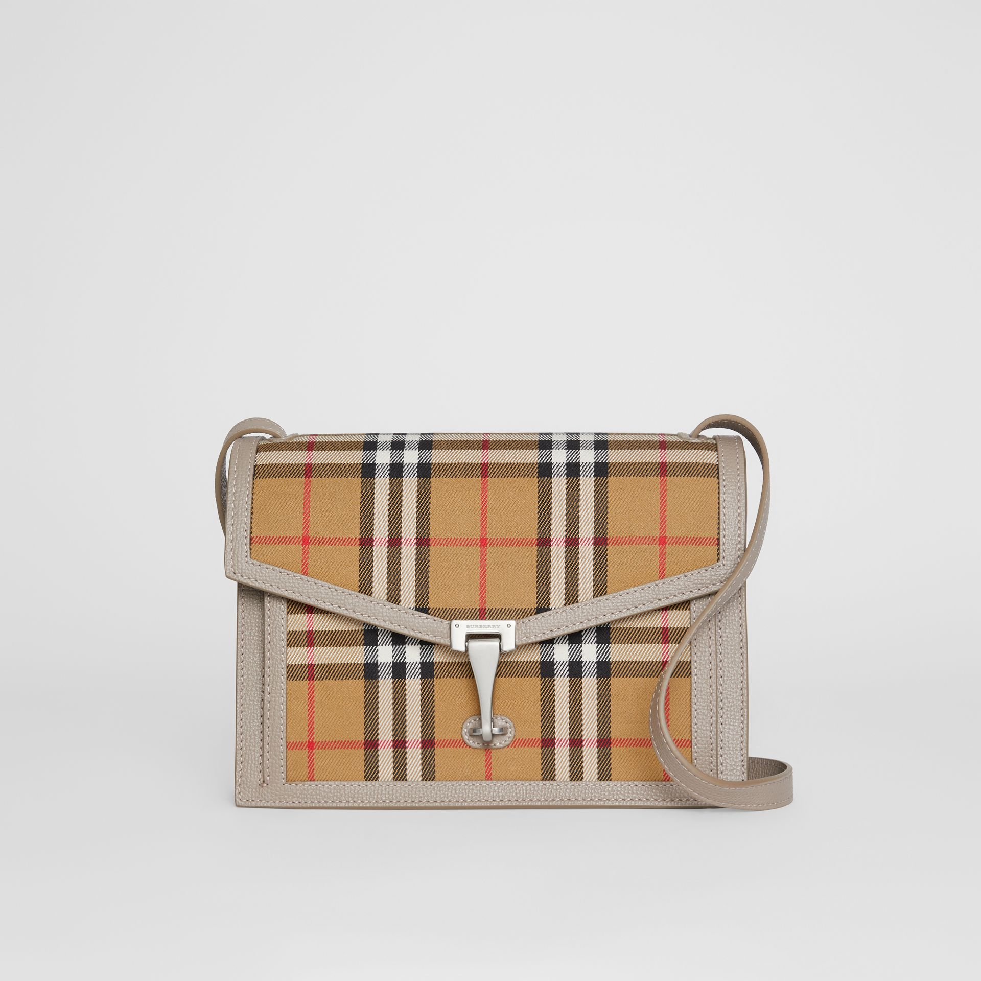 Small Vintage Check and Leather Crossbody Bag in Taupe Brown - Women | Burberry Canada - gallery image 0